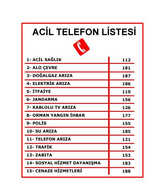 Acil Telefon Numaralari Listesi Is Guvenlik Malzemeleri